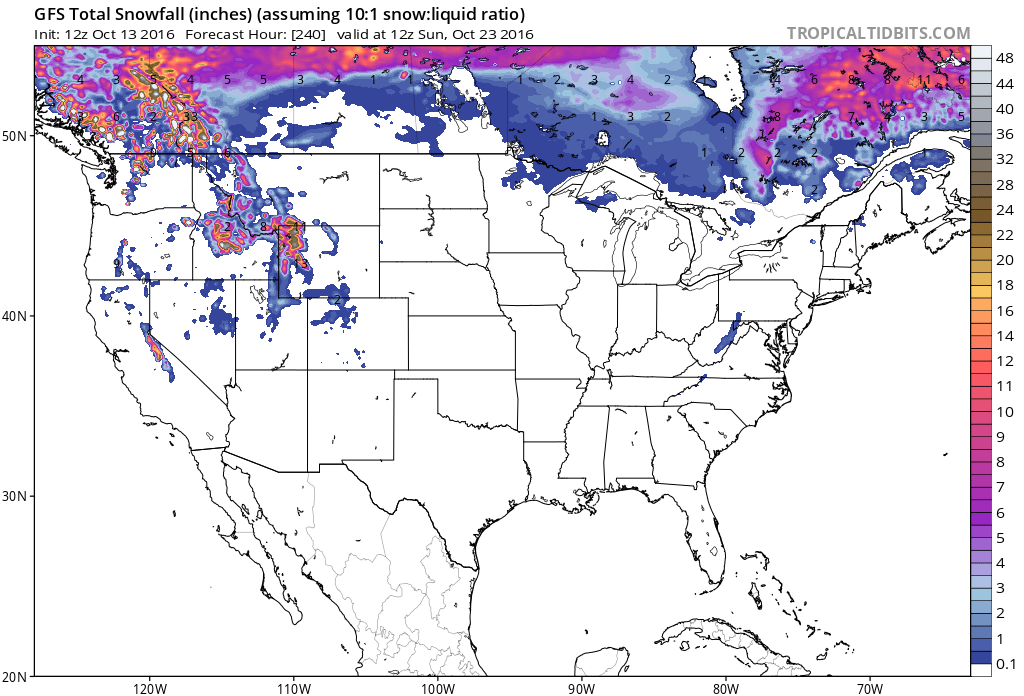 10-day snowfall forecast in USA from GFS model. image: tropical tidbits