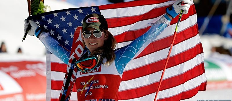 BEAVER CREEK, CO - FEBRUARY 14:  Gold medalist Mikaela Shiffrin of the United States celebrates after the Ladies' Slalom on the Golden Eagle racecourse on Day 13 of the 2015 FIS Alpine World Ski Championships on February 14, 2015 in Beaver Creek, Colorado.  (Photo by Ezra Shaw/Getty Images)
