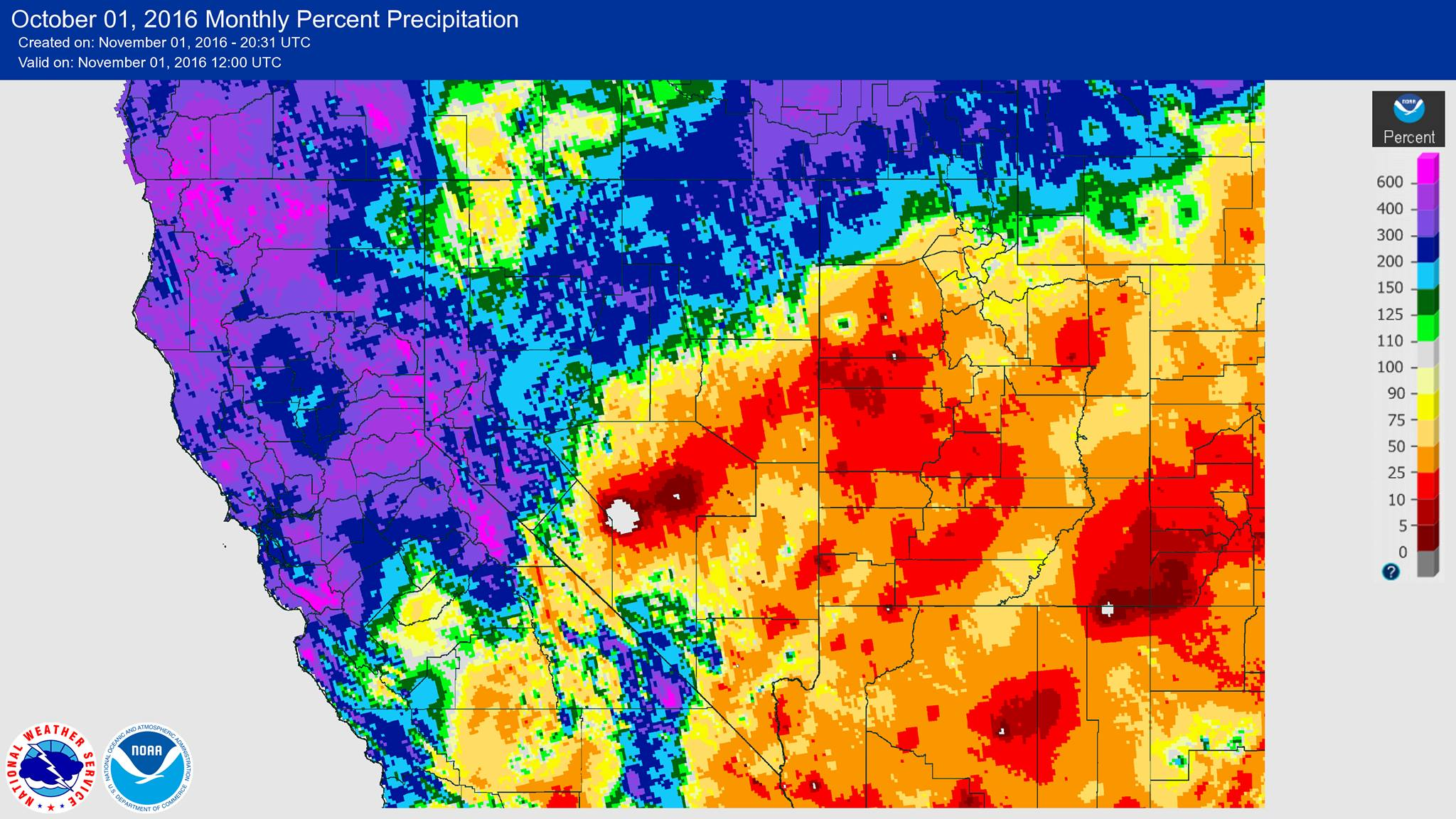 Percentage of average precipitation for the month of October in California. Many places reporting as high as 600% of average... image: noaa, yesterday