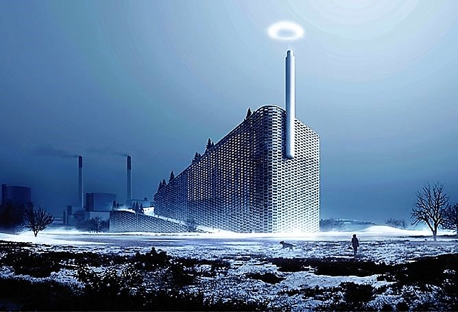 A rendering of the world's cleanest power plant, currently being constructed in Copenhagen, complete
