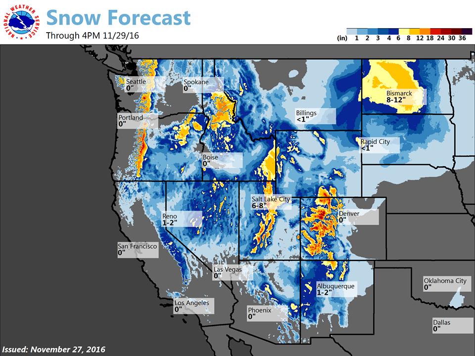 Huge snowfall totals through Tuesday at 4pm.  image:  noaa, todays