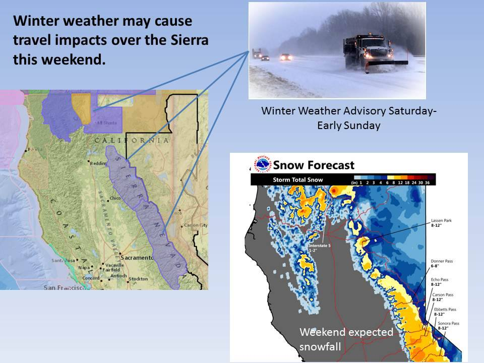 Big snow forecast for CA today and tomorrow. image: noaa, today