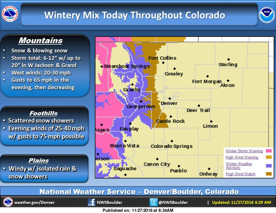 """Up to 20"""" of snow coming to Colorado. image: noaa, today"""