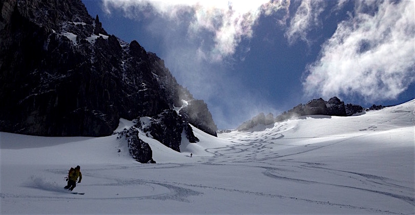 Pow skiing Marcial Glacier, Ushuaia, Argentina yesterday. photo: snowbrains