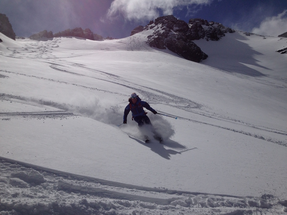 Stefan Palm in pow at the Marcial Glacier, Ushuaia, Argentina yesterday. photo: snowbrains