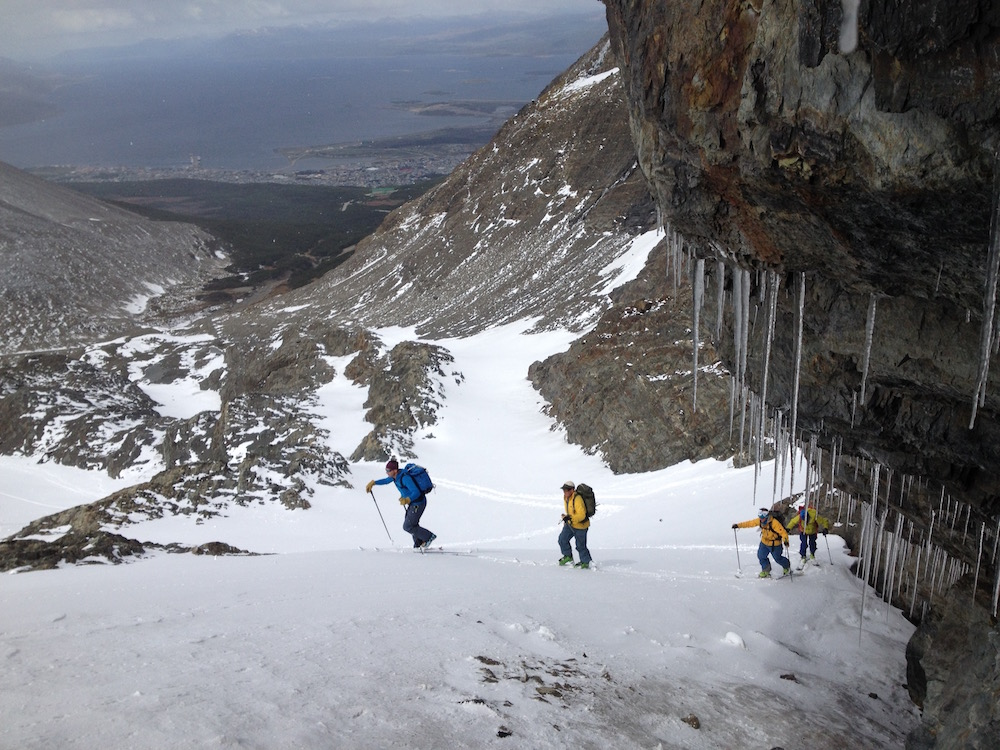 Chris Davenport leading the boys up the Marcial Glacier, Ushuaia, Argentina yesterday. photo: snowbrains
