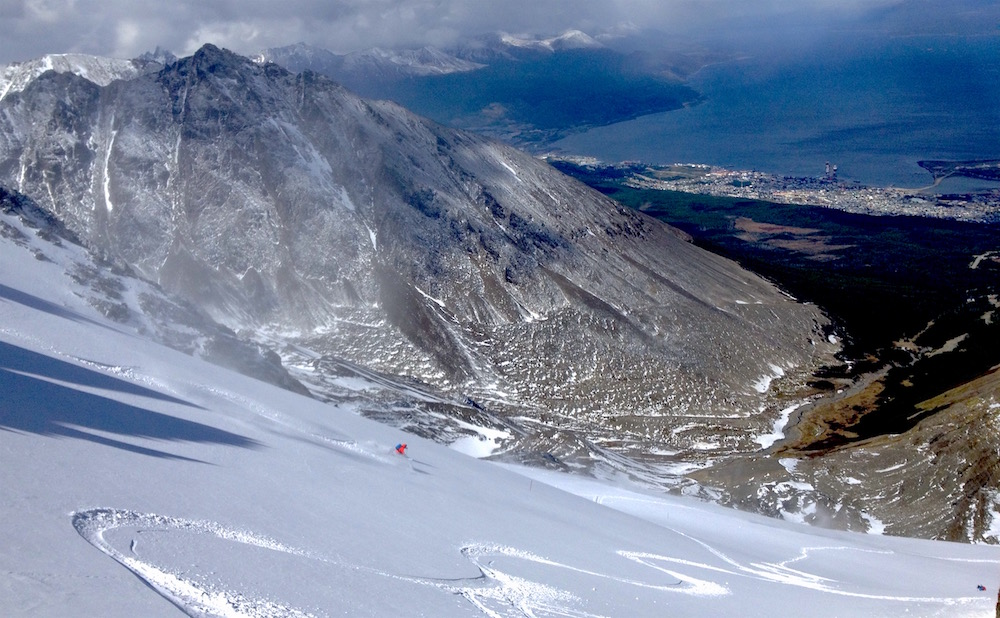 Chris Davenport skiing pow at the Marcial Glacier, Ushuaia, Argentina yesterday. photo: snowbrains