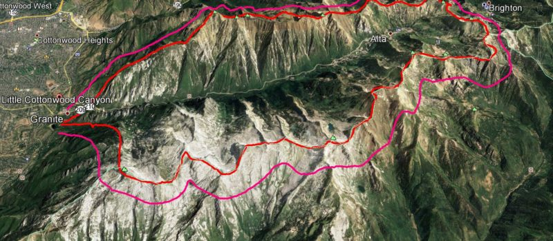 All of Little Cottonwood Canyon (outlined in red) PLUS a 1km buffer over the ridgeline (in pink) will be closed for backcountry use when UDOT is shooting, and even 12 hours before.