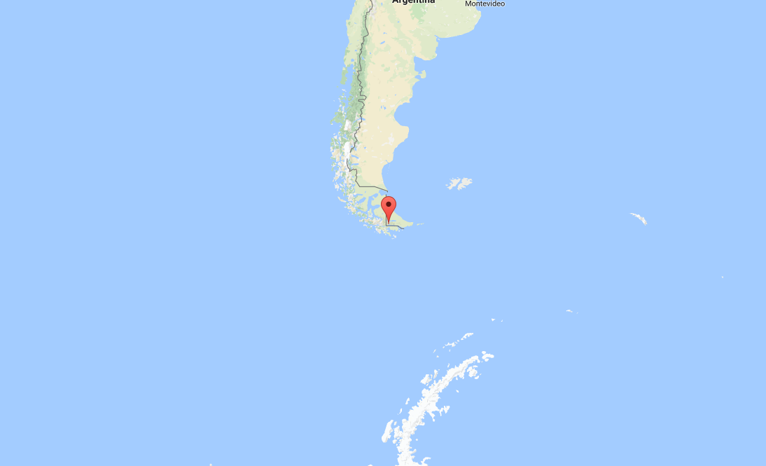 Map with pin showing Ushuaia, Argentina. Antarctic Peninsula, where we're headed, on bottom of map in white.
