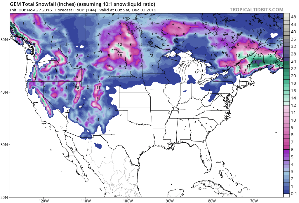 Big snow forecast all over the Western USA next 7 days according to the GEM model. image: tropical tidbits
