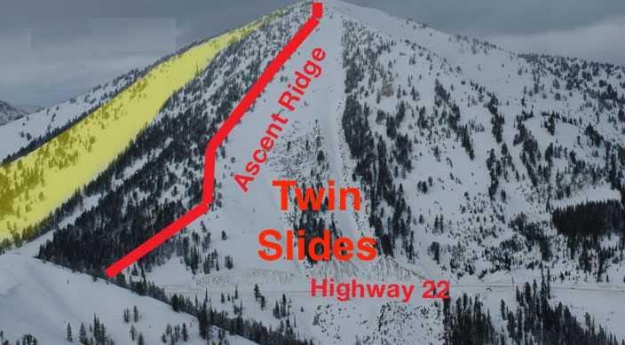 Twin Slides area is great for skiing and has serious avalanche potential. This is the zone that avalanched on Teton Pass today. image: Creative Commons