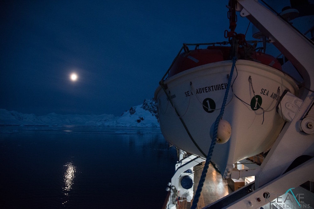The Sea Adventurer at night. image: Court Leve/Ice Axe Expeditions