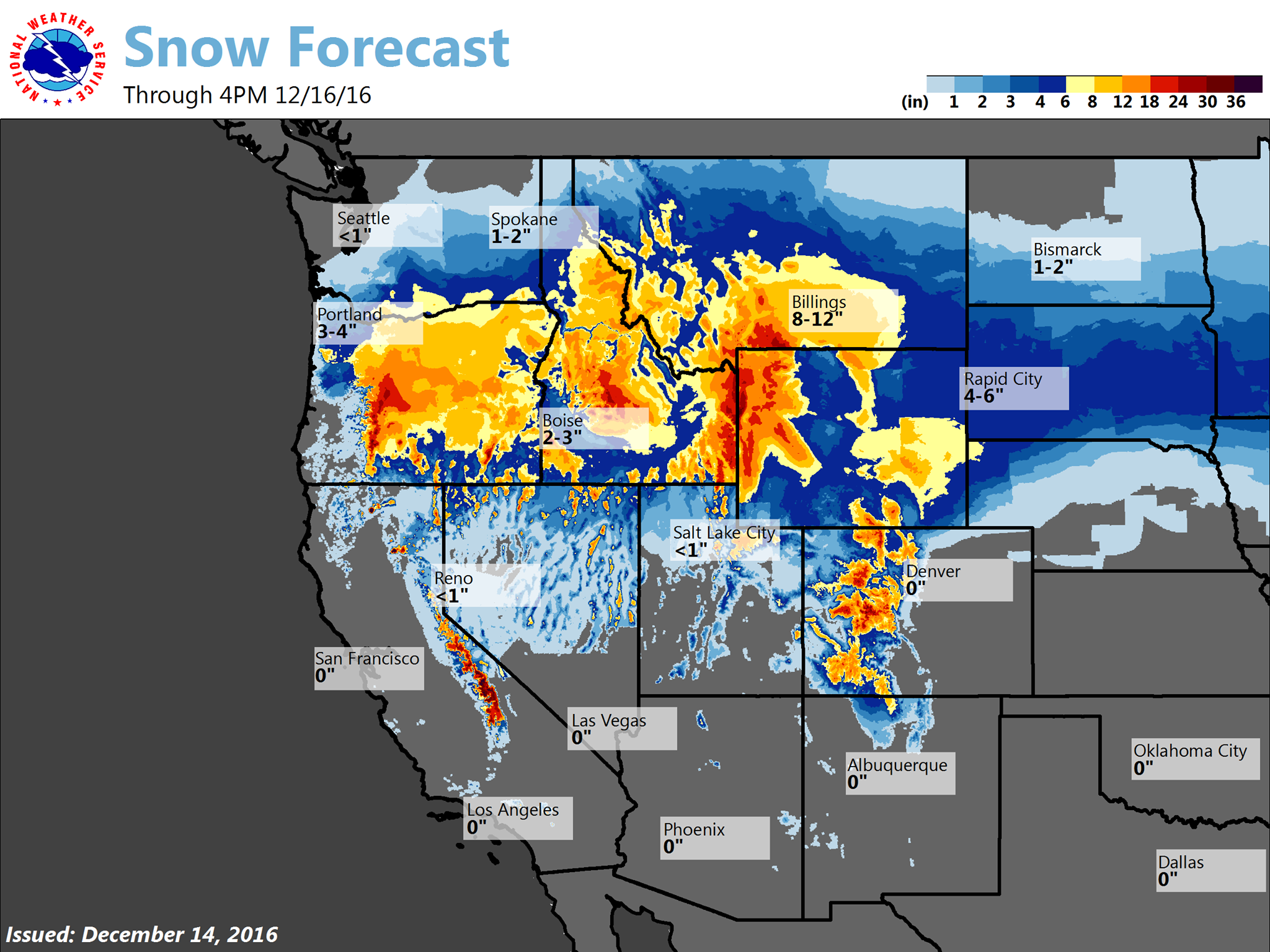 Big snow forecast in the western USA today and tomorrow.  image:  noaa, today