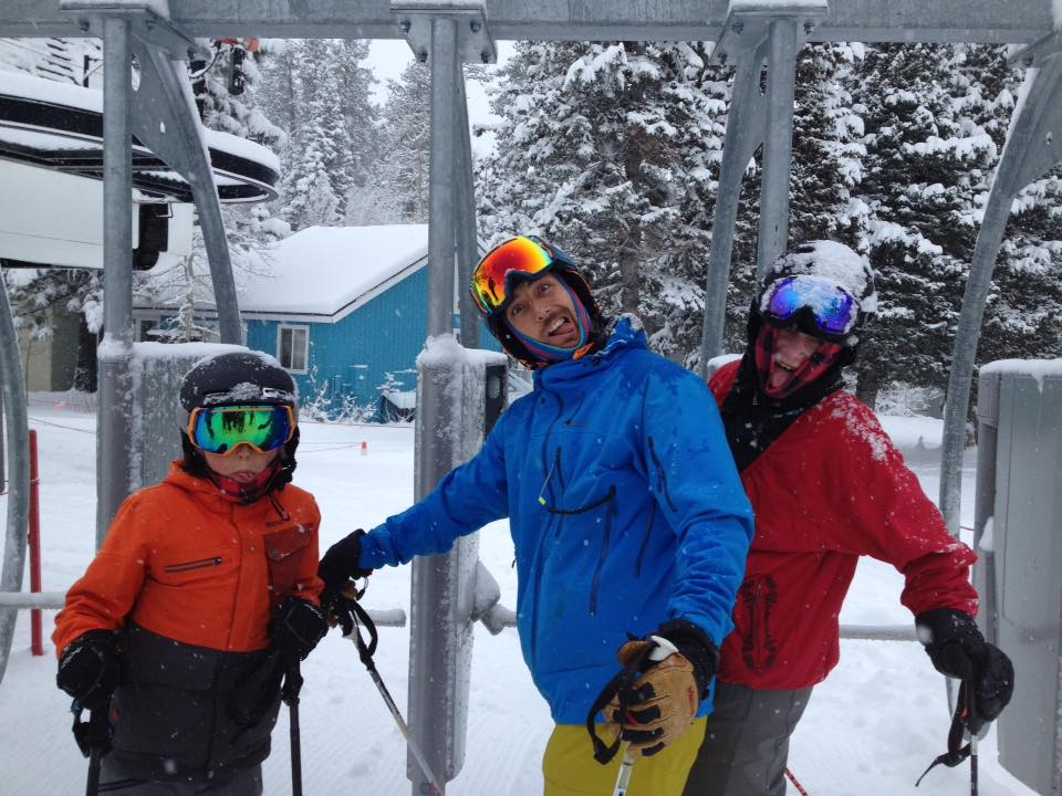 Jonny Moseley and family on first chair at Squaw One yesterday.  photo:  miles clark/snowbrains