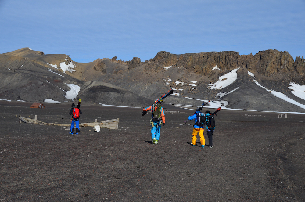 Miles' crew on Deception Island. image: Court Leve/Ice Axe Expeditions