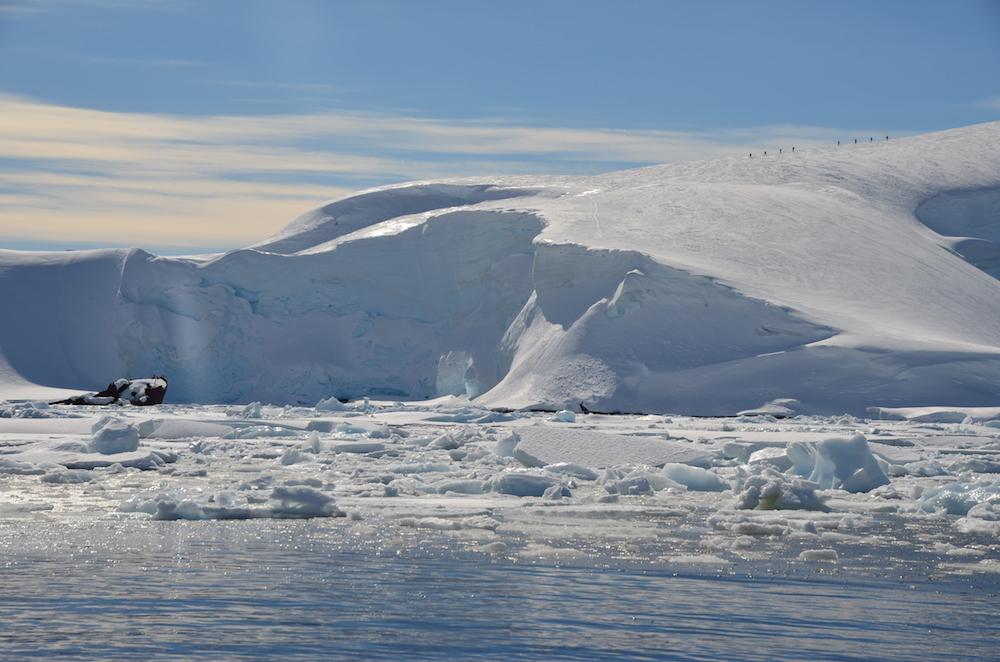 Shipwreck and skiers. image: theresa mellas