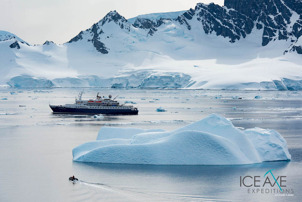 The Sea Adventurer and a Zodiac boat. image: Court Leve/Ice Axe Expeditions