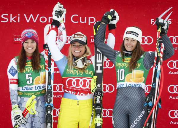 Sunday's Super G top 3 at Lake Louise Lara Gut, Tina Weirather, and Sofia Goggia (Jeff McIntosh/The Canadian Press via AP)