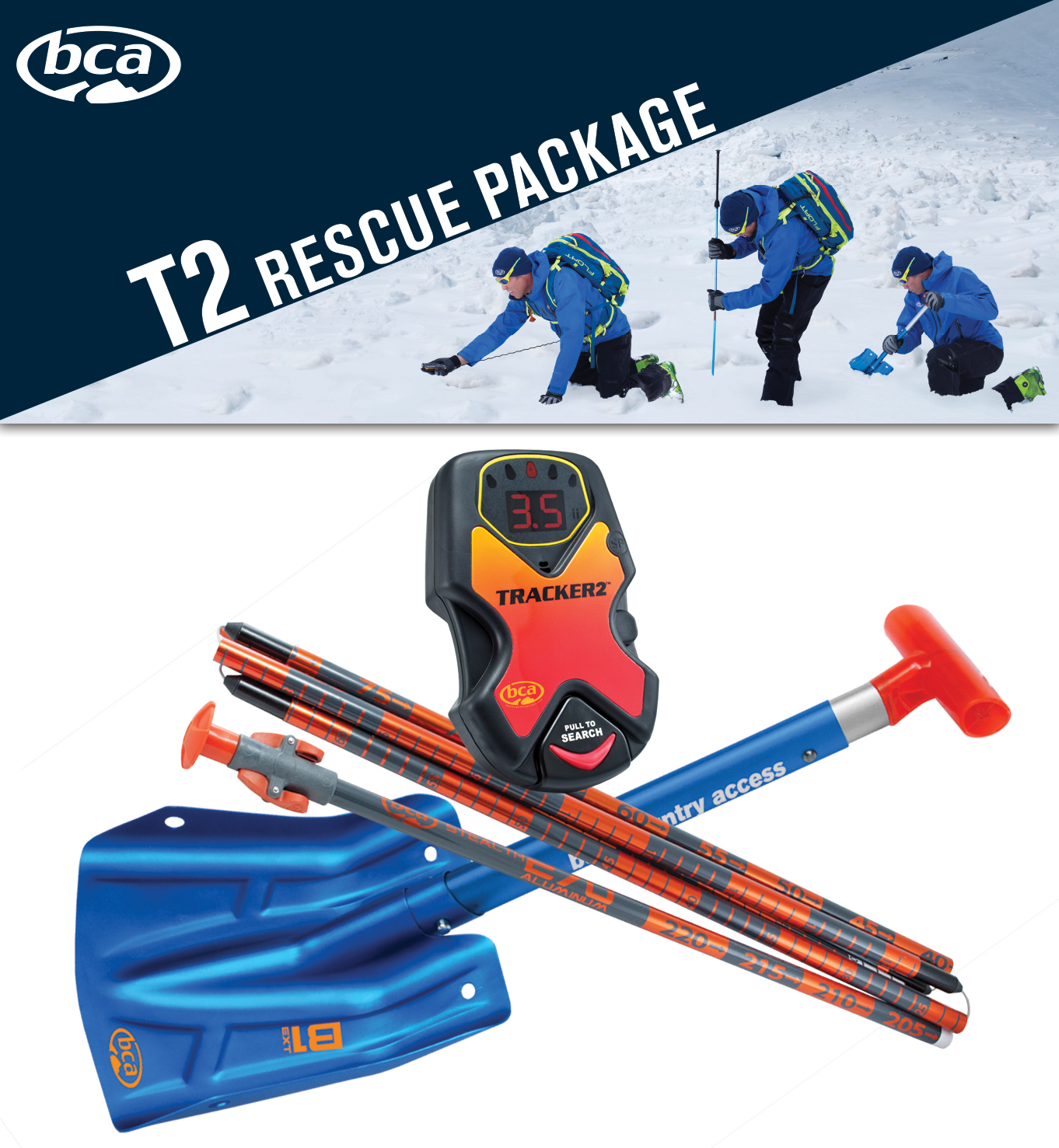 BCA T2 Rescue Package includes all of the backcountry essentials. Image: BCA