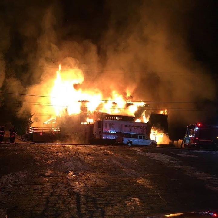 The Lodge was engulfed.. Image: North Tahoe Fire Protection District