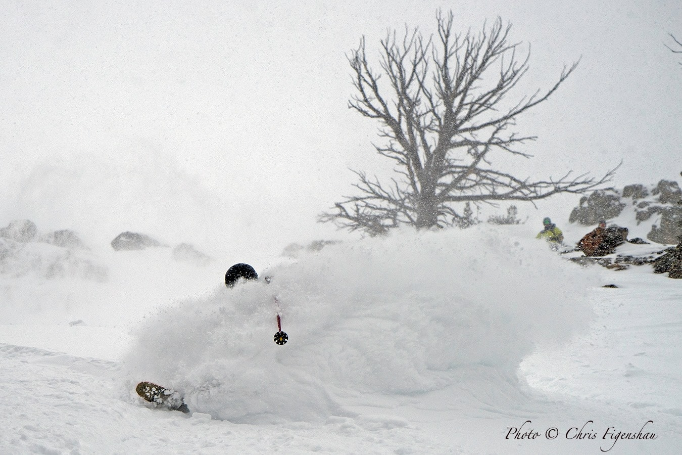 Dave Barnett plows his way through Jackson's 20th foot of seasonal fallen snow. PC: Chris Figenshau