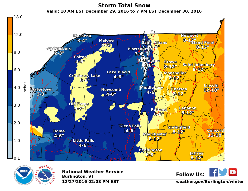 Big snowfall totals for the EAST. Image: NOAA Burlington, VT