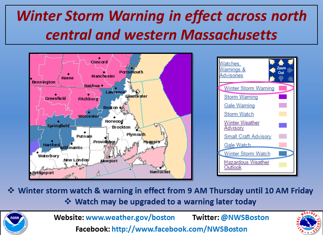 Massachusetts warnings and advisories. Image: NOAA Boston, MA Today