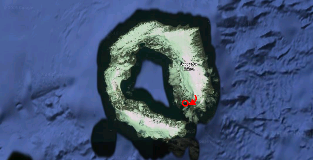 Deception Island. Red Circle = landing/pick up. Red Arrow = lines skied.