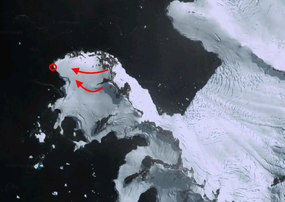 Charlotte Bay, Antarctic Peninsula. Red Circle = landing/pick up. Red Arrow = lines skied.