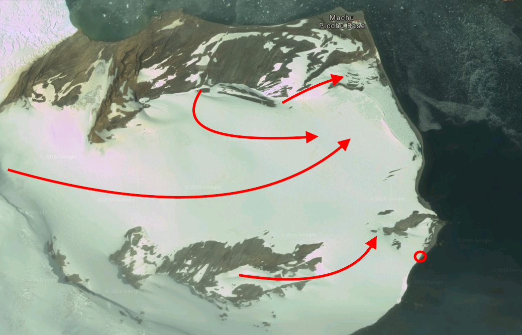 King George Island. Red Circle = landing/pick up. Red Arrow = lines skied.
