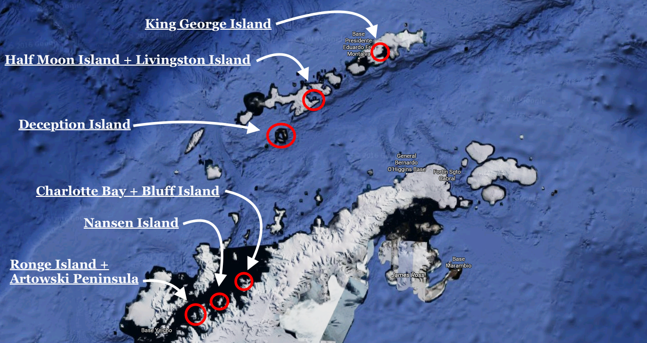 Map showing exactly where we landed on the 2016 Ice Axe Expeditions Antarctica trip.