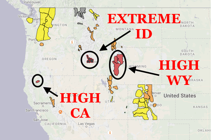 High and Extreme avy danger in USA today. image: avalanche.org