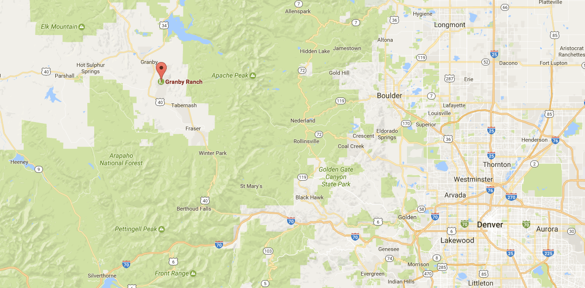 Map showing location of Ski Granby Ranch.