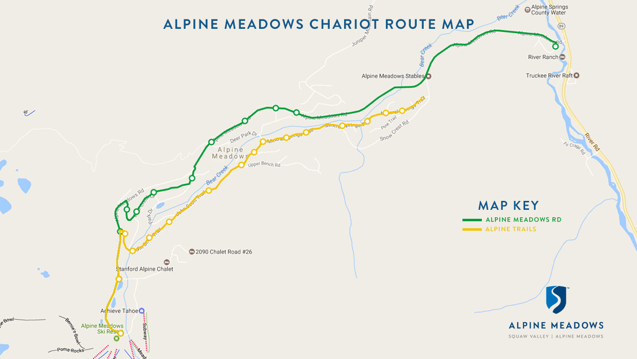 Alpine Chariot pick up map.