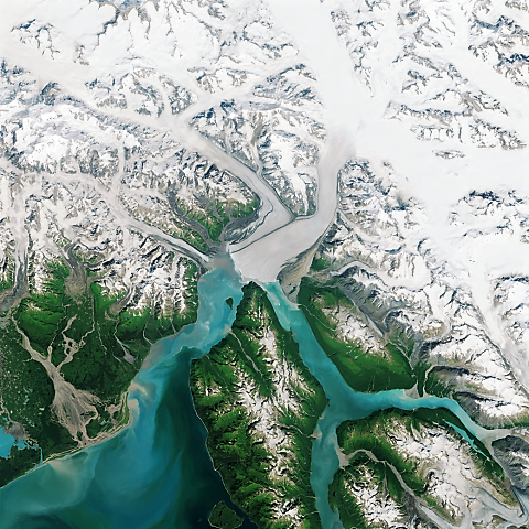 This image acquired by the Operational Land Imager (OLI) on Landsat 8, shows a close-up of the terminus of Alaska's Hubbard Glacier