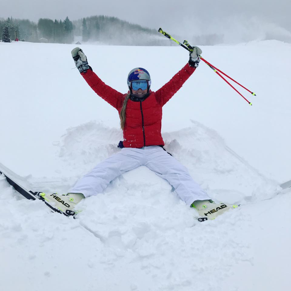 Lindsey Vonn gets re acclimated with her best element. pc; Vonn FaceBook