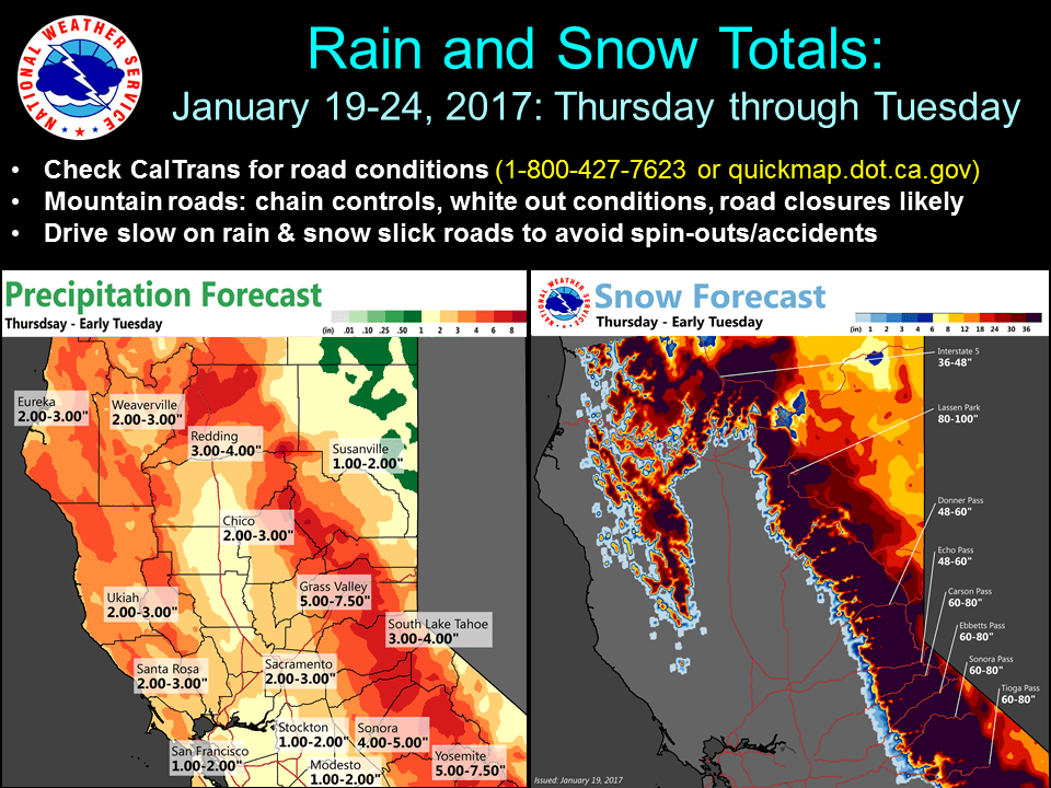 Huge snow forecast for CA this week. image: noaa, today