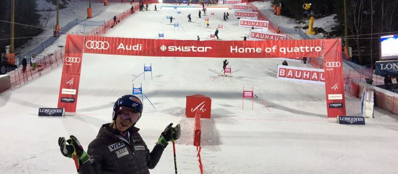 Mikaela sharing the stoke before the race in Stockholm Sweden on Jan. 31 credit; Mikaela Shiffrin FaceBook