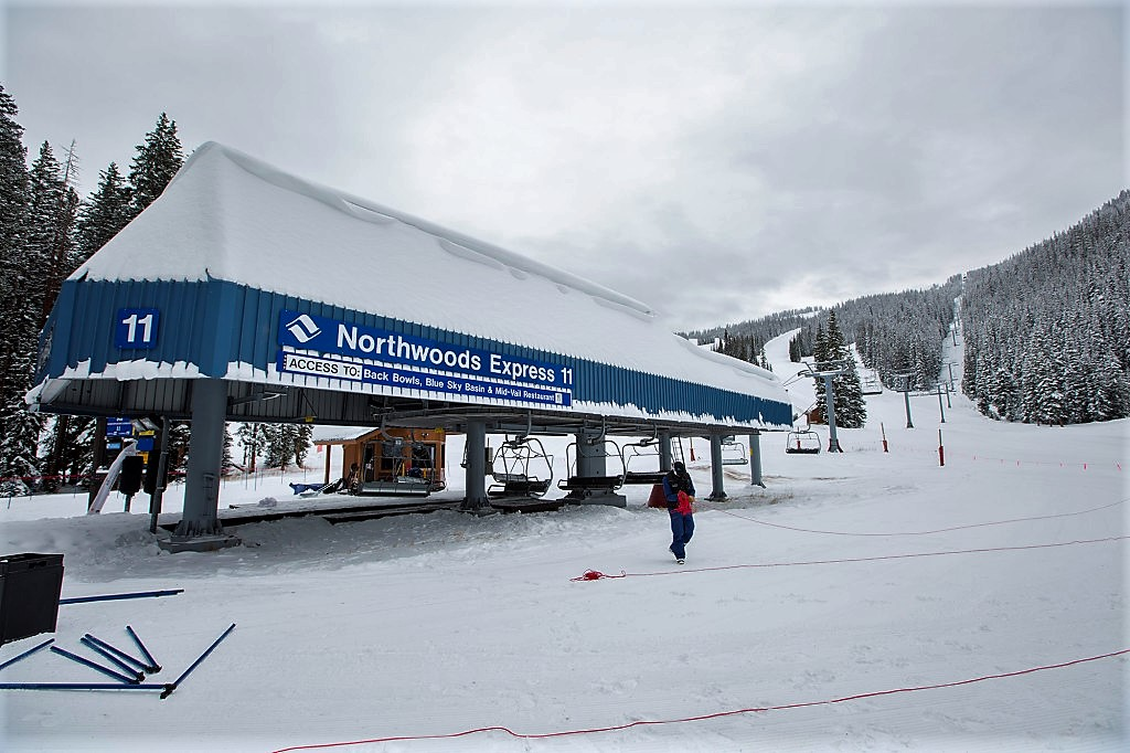 Northwoods Express (#11) is a primary lift on the front side of Vail Mountain, serving intermediate and advanced terrain.