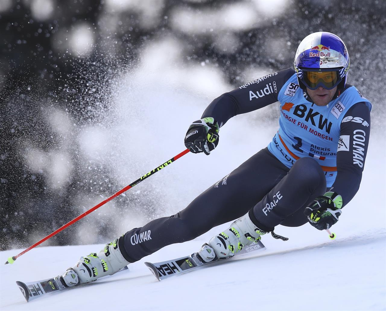 The legendary Chuenisbärgli has a new champion! Frenchman Alexis Pinurault holds on in the second run to win the FIS World Cup GS at Adelboden Saturday. pc; Zoom Agence