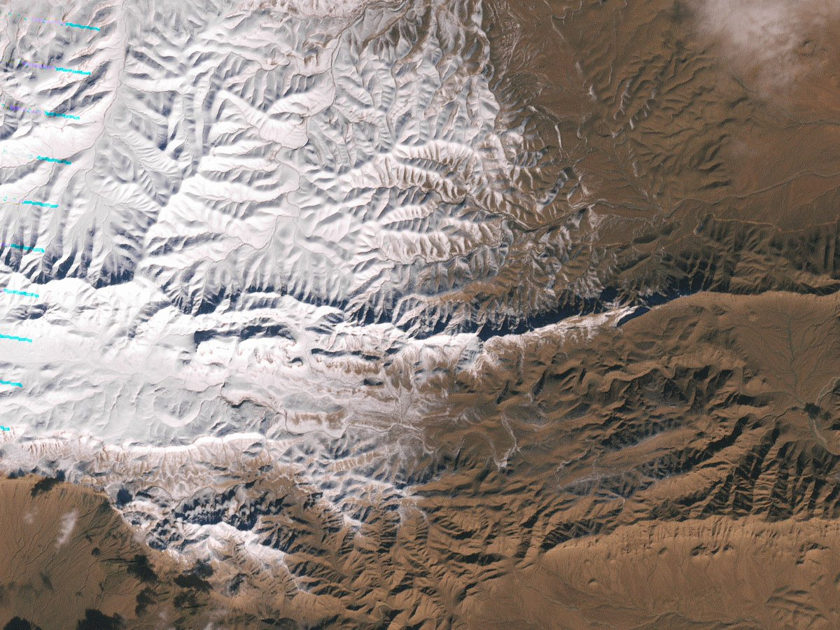 The Landsat 7 satellite acquired this image of snow in North Africa on December 19, 2016. The scene shows an area near the border of Morocco and Algeria, south of the city of Bouarfa and southwest of Ain Sefra. // photo: NASA Earth Observatory.