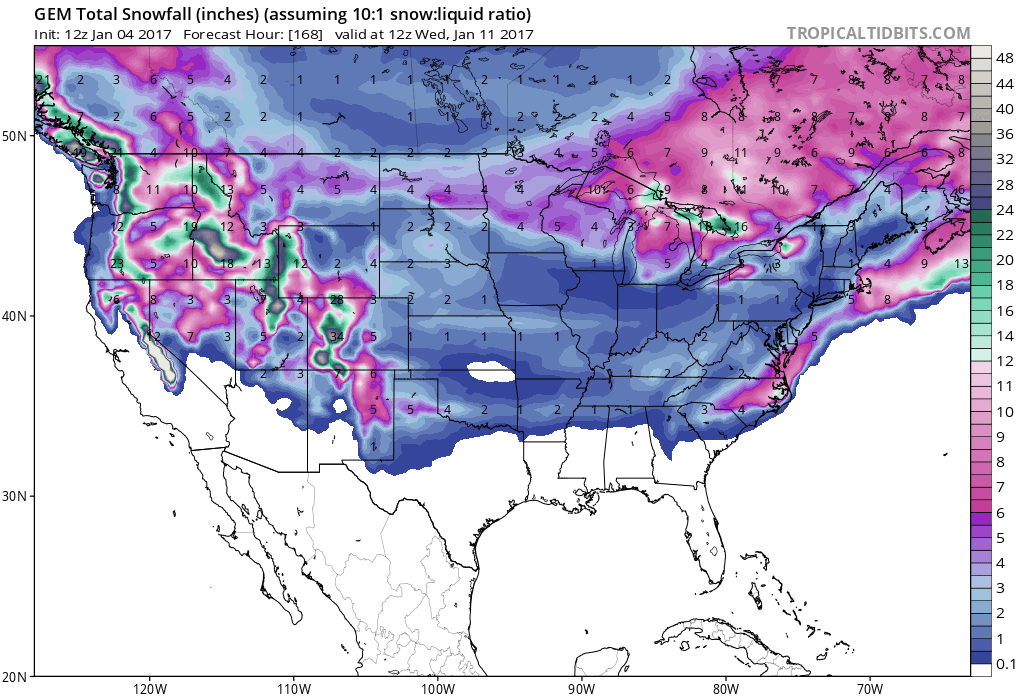7 day snowfall totals are looking mighty FINE! Image: Tropical Tidbits