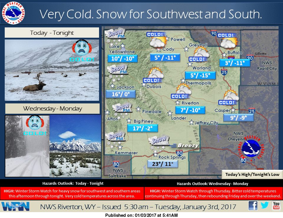 Snow and cold temperatures in Wyoming today. Image: NOAA Riverton, WY