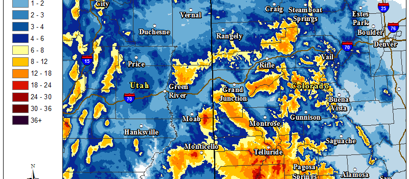 Snowfall totals through Saturday. Image: NOAA Grand Junction, CO Today