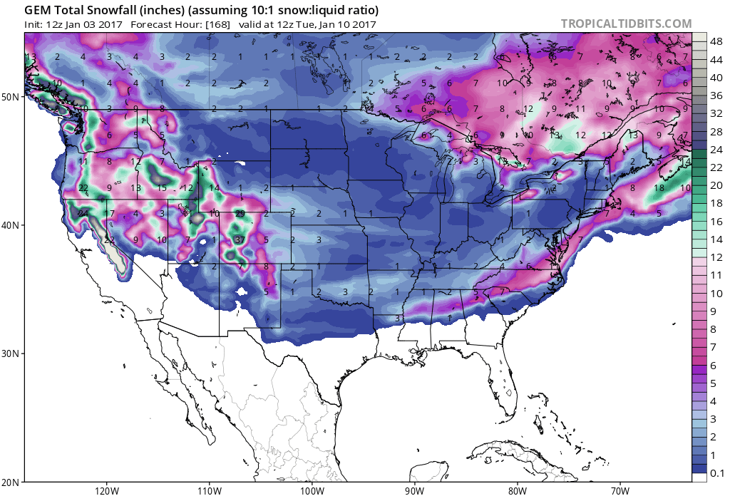GFS forecast showing substantial snow totals over the next 7 days! Image: Tropical Tidbits