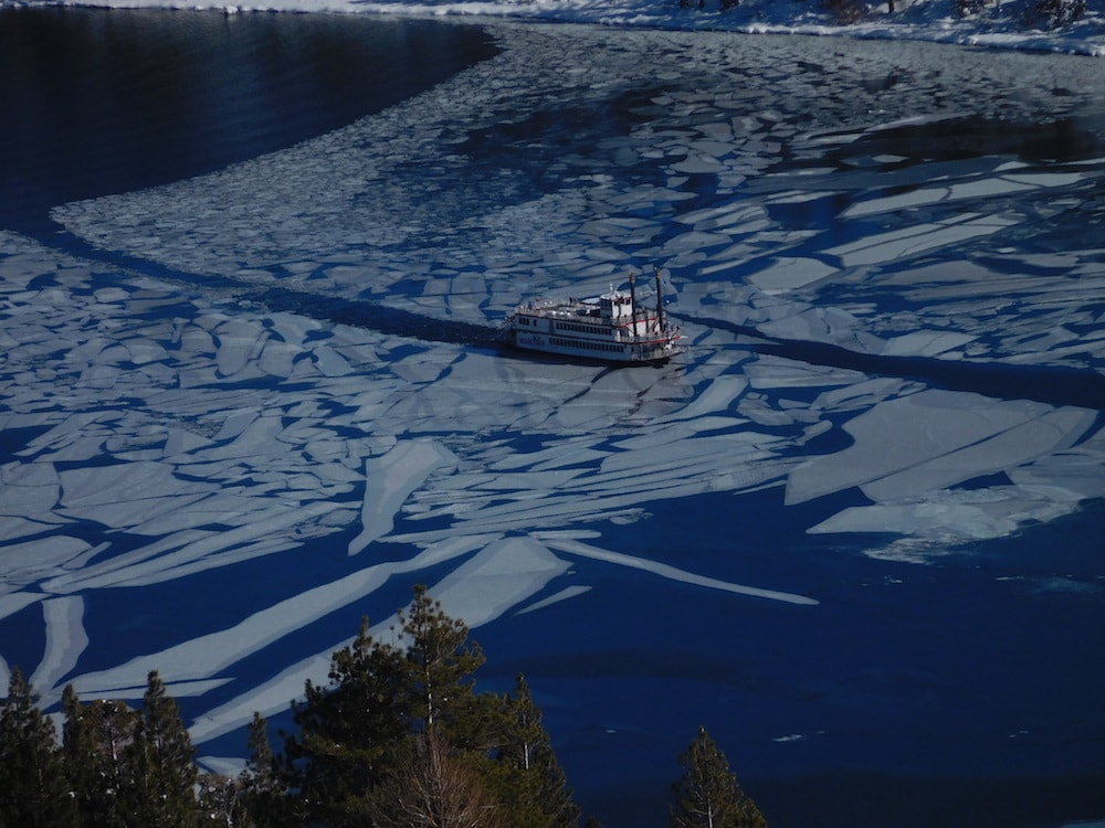 Miss Dixie coming into Emerald Bay today. photo: snowbrains