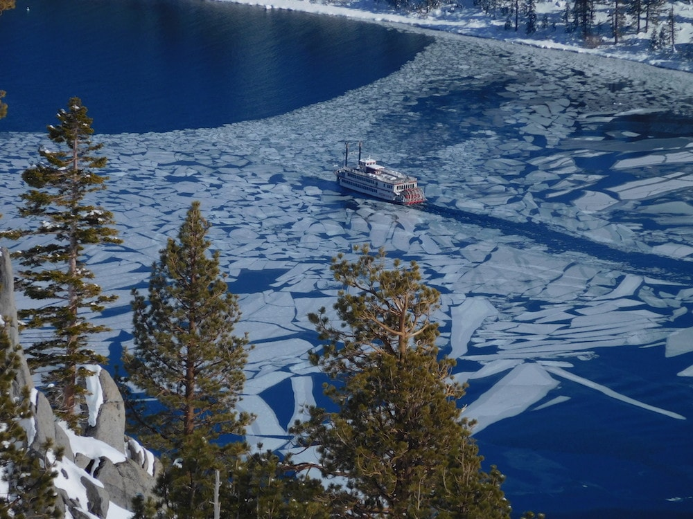 Miss Dixie exiting Emerald Bay today.  Miss Dixie coming into Emerald Bay today.  photo:  snowbrains