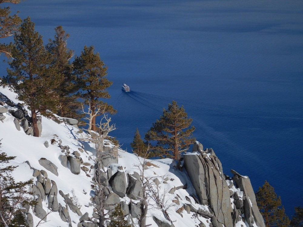 Miss Dixie. Lake Tahoe. Today. Miss Dixie exiting Emerald Bay today. photo: snowbrains