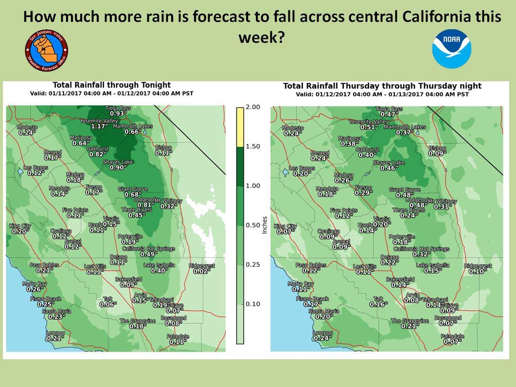 Additional rainfall through Thursday. Image: NOAA Hanford, CA Today