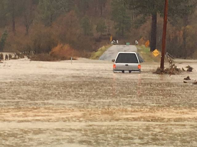 Chandler Road is flooded near Oakland Camp. Image: CHP